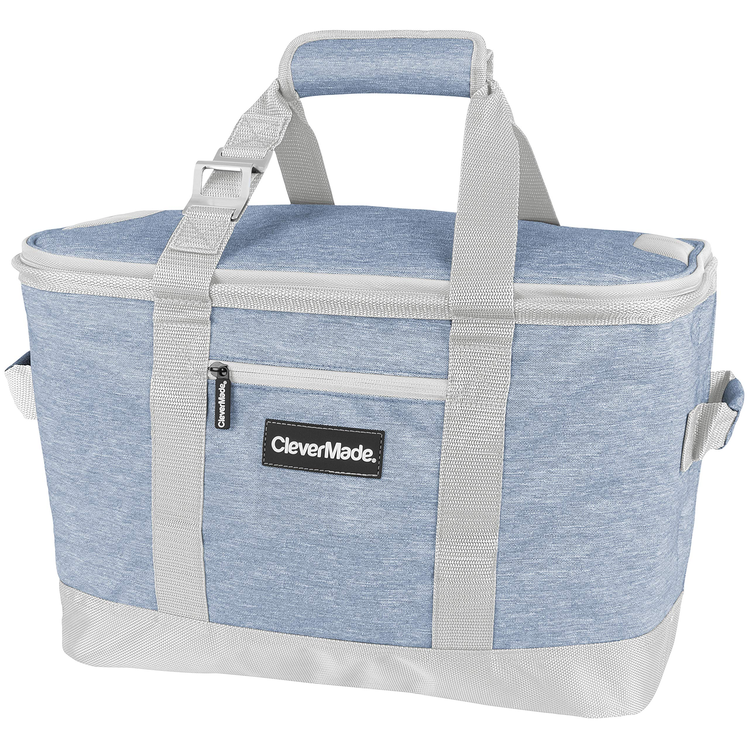 CleverMade Collapsible Cooler Bag: Insulated Leakproof 50 Can Soft Sided Portable Beverage Tote with Bottle Opener & Storage Pockets, Light Grey/Denim by CleverMade