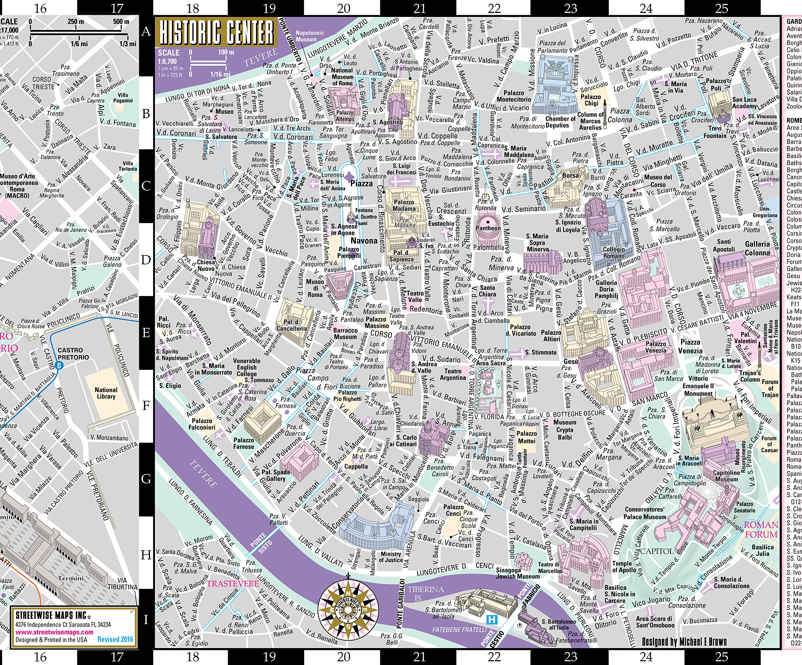 Streetwise Rome Map Laminated City Center Street Map Of