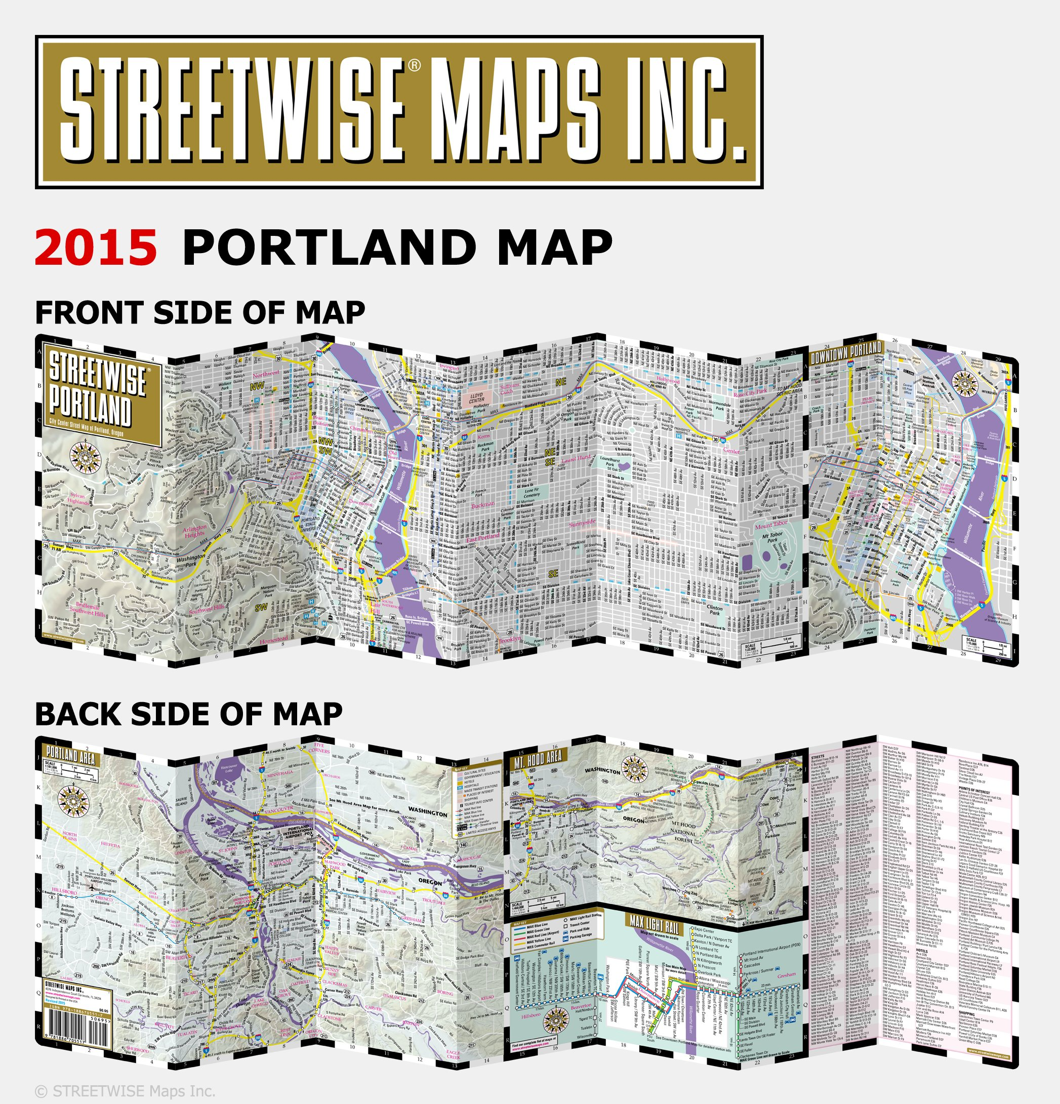 Streetwise Portland Map Laminated City Center Street Map Of - Oregon city map