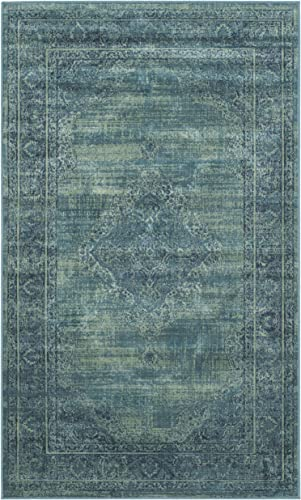 Safavieh Vintage Premium Collection VTG112-2220 Transitional Oriental Turquoise and Multi Distressed Silky Viscose Area Rug 2 x 3