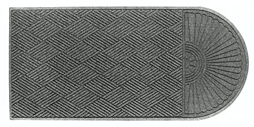 M A Matting 2248 Grey Ash PET Polyester WaterHog ECO Grand Premier Entrance Mat, Half Oval One End, 5.9 Length x 4 Width, for Indoor Outdoor