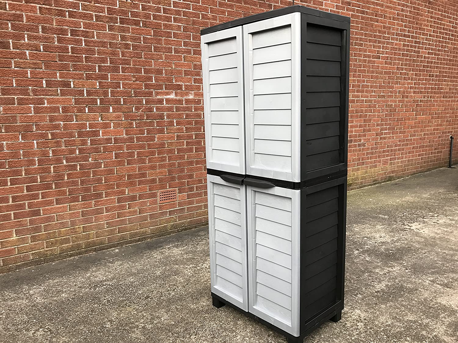 6ft Plastic Garden Storage Utility Shed Cabinet 4 Shelves Black and Silver Grey FAST STARPLAST