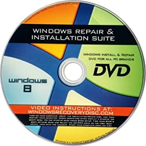 Recovery, Repair & Re-install disc compatible w/ All Versions of Windows 8 32/64 bit & PC makers