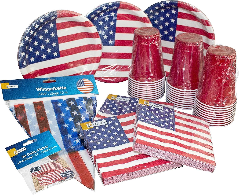 Heku Desechables de Set de Fiesta Estados Unidos con Platos, Red de Cup de Vasos, servilletas, Palillos Decorativos Siempre y una banderines, 171Piezas
