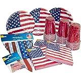 Heku Desechables de Set de Fiesta Estados Unidos con Platos, Red de Cup de Vasos, servilletas, Palillos Decorativos…