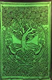"Courtney Davis Green Tree of Life Tapestry/bedspread 52"" X 76"" ~ Single"