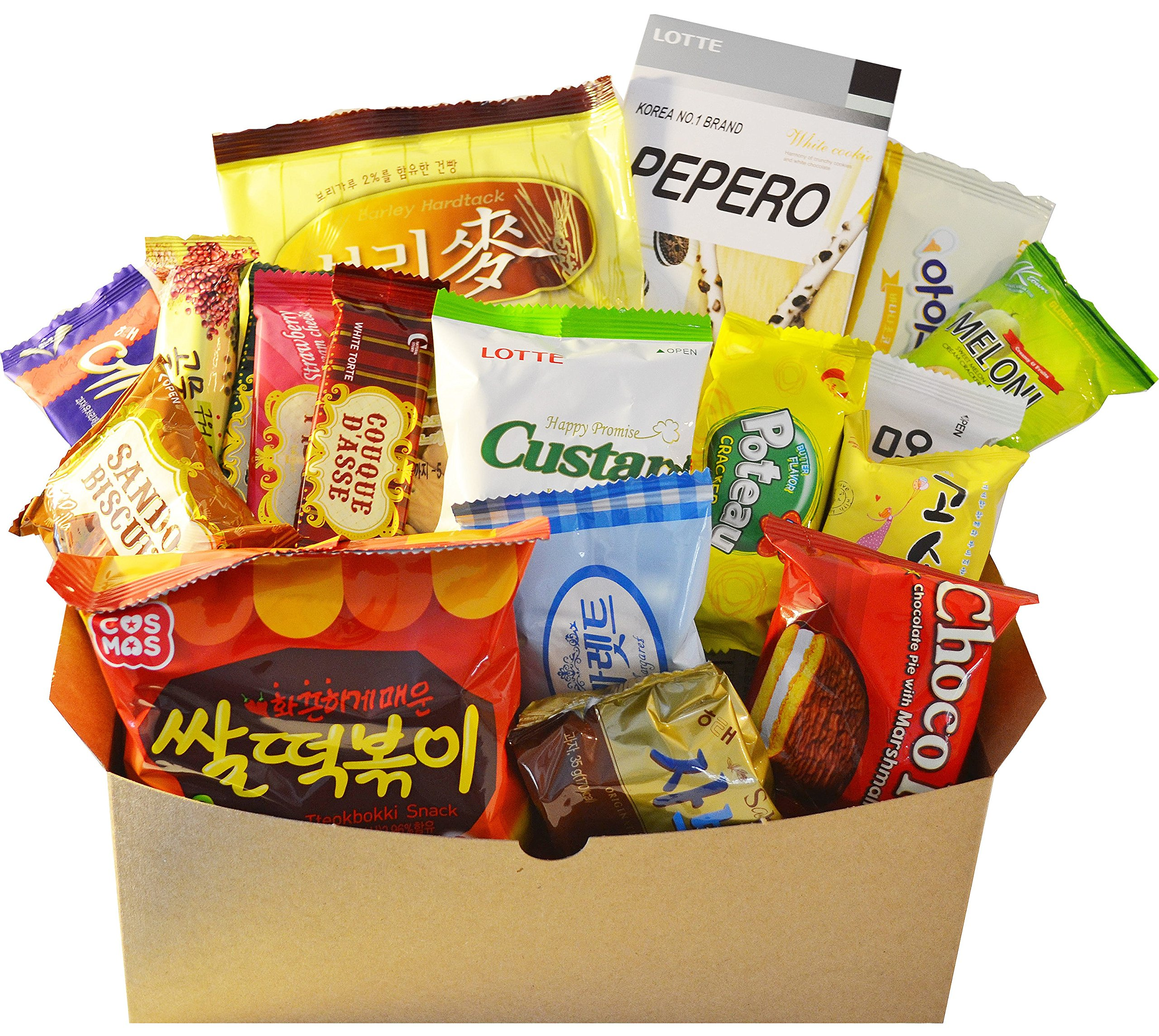 Classic Korean Snack Box (25 Count) - Care Package - Popular Variety Korean Candy, Cookie, Chips Snack Gift Pack (Single Set)