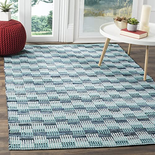 Safavieh Montauk Collection MTK121C Handmade Flatweave Turquoise and Multi Cotton Area Rug 9 x 12