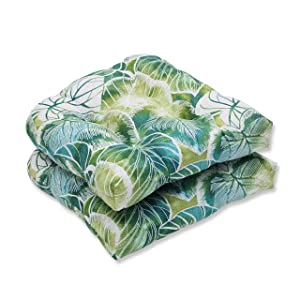 Pillow Perfect Outdoor/Indoor Key Cove Lagoon Wicker Seat Cushion (Set of 2)