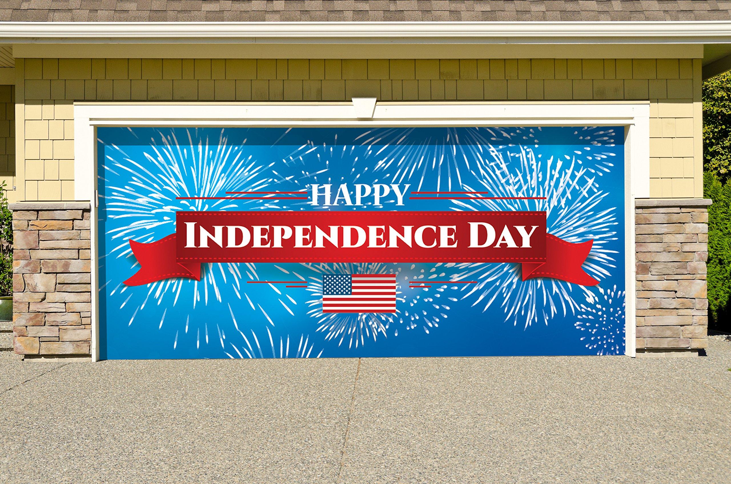 Outdoor Patriotic American Holiday Garage Door Banner Cover Mural Décoration - Fireworks Happy Independence Day - Outdoor American Holiday Garage Door Banner Décor Sign 7'x 16'