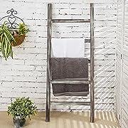 MyGift 4-Foot Decorative Rustic Barnwood 5-Rung Blanket Ladder Organizer, Hanging Towel Bar Rack