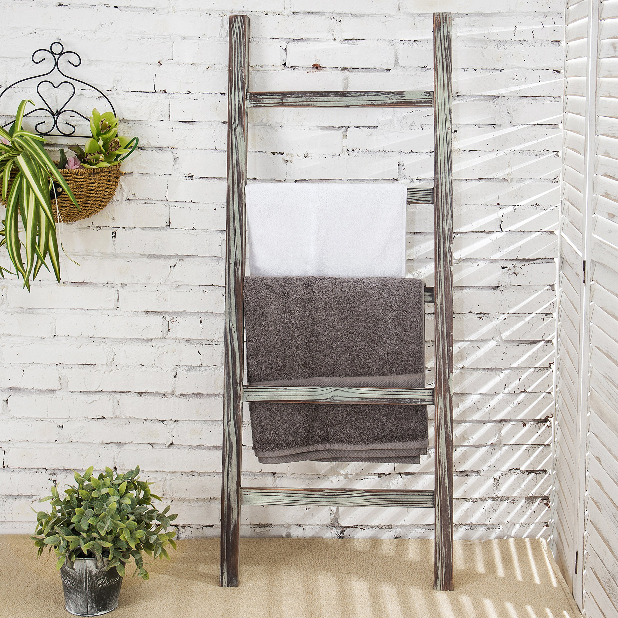 CDM product MyGift 4-Foot Decorative Rustic Barnwood 5-Rung Blanket Ladder Organizer, Hanging Bar Rack big image