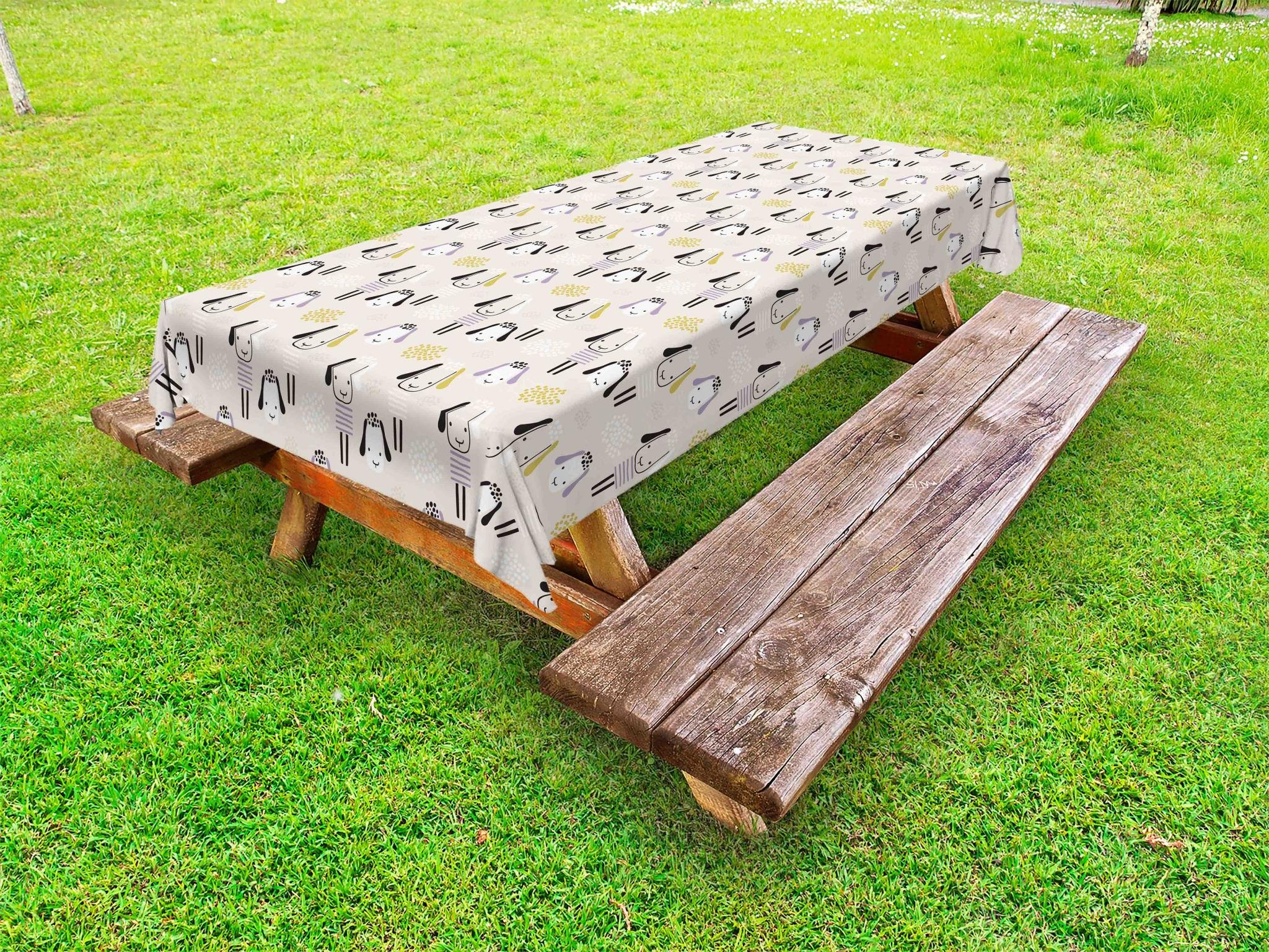 Lunarable Animal Outdoor Tablecloth, Abstract Sheep Pattern Creative Nursery Theme Doodle Farmhouse Herd, Decorative Washable Picnic Table Cloth, 58 X 120 inches, Earth Yellow Lavender Beige by Lunarable