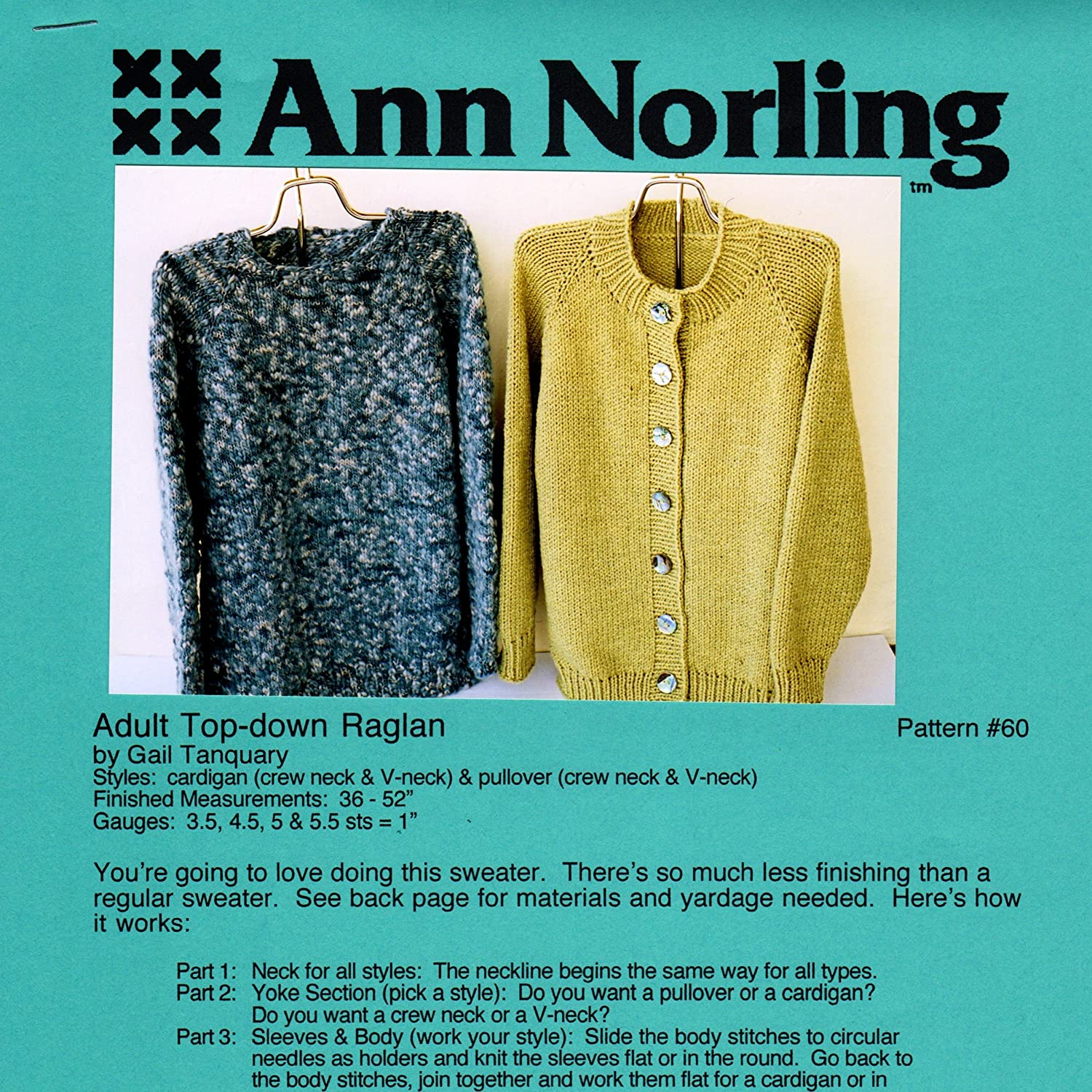 Amazon Ann Norling Pattern 60 Adult Basic Top Down Cardigan