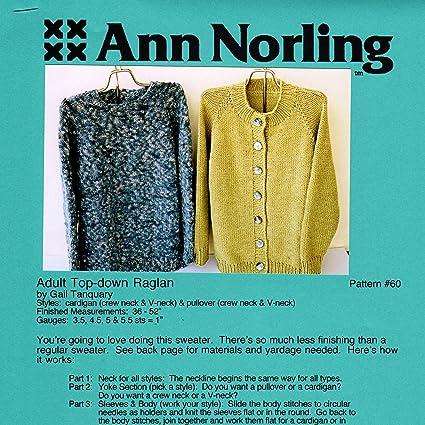 Amazon Ann Norling Pattern 60 Adult Basic Top Down Cardigan