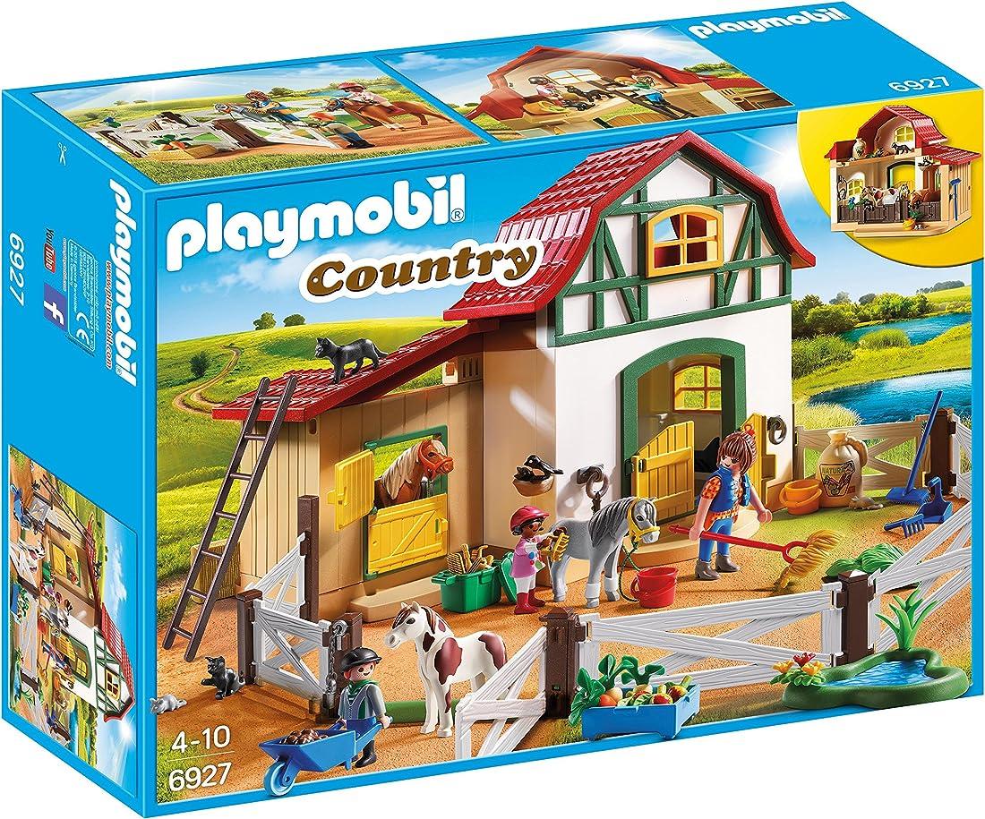 Playmobil country 6927 - maneggio dei pony con animali e fienile, dai 4 anni