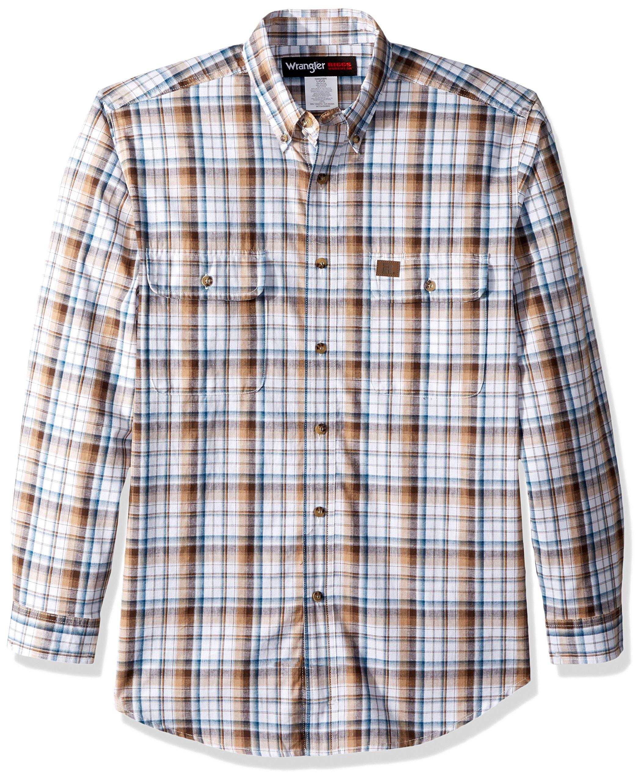 Wrangler Men's Riggs Workwear Foreman Plaid Long Sleeve Work Shirt, Brown, M
