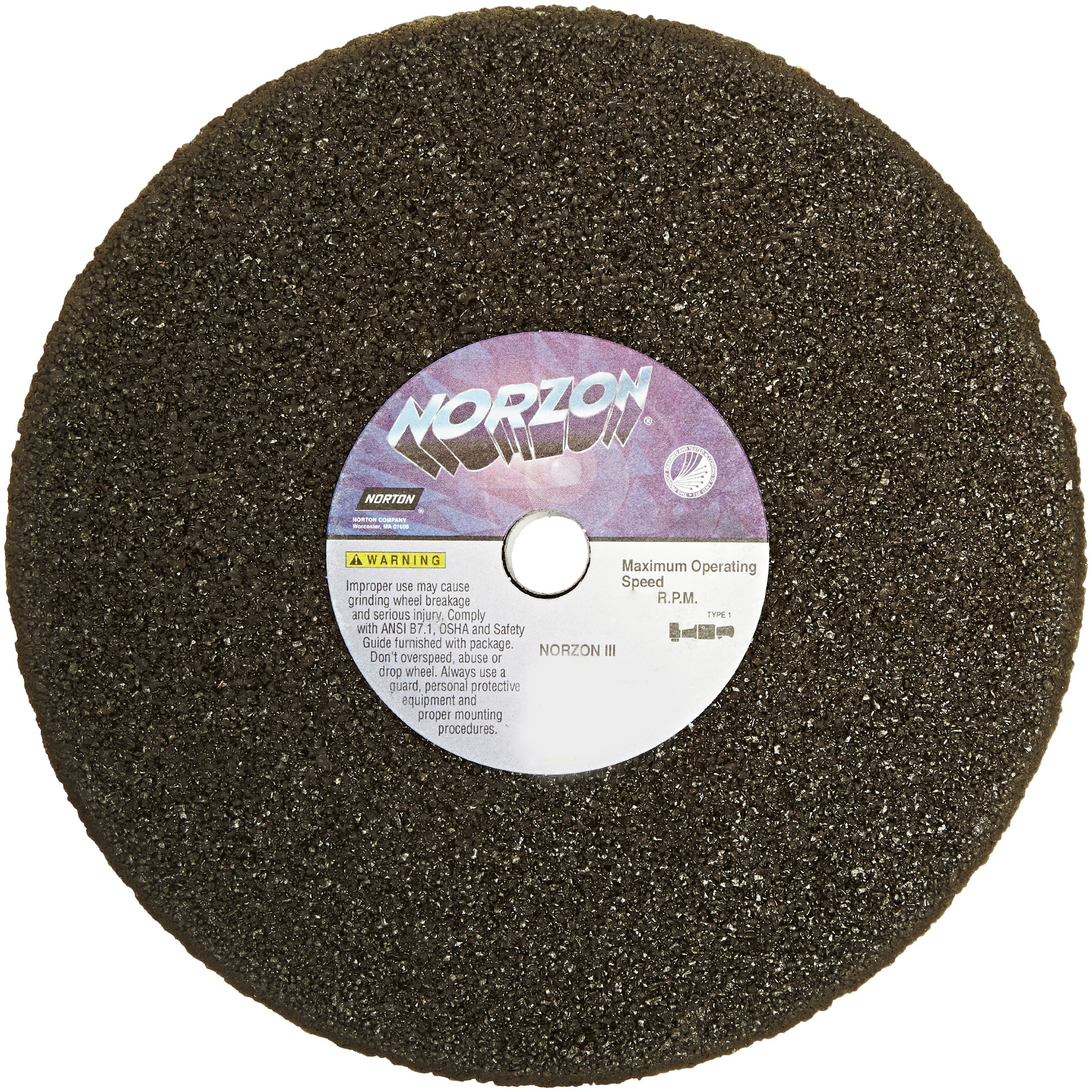 Norton NorZon III Portable Snagging Abrasive Wheel, Type 01 Straight, Zirconia Alumina, 5/8'' Arbor, 8'' Diameter, 1'' Thickness (Pack of 5) by Norton Abrasives - St. Gobain