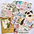 36PCS Packed Retro Washi Paper Decals Stickers, Doraking DIY Kraft Packed Vintage Decorative Stickers for Scrapbook, Gift Wrapping, Decoration, Wall (Memory Trip, 36PCS/Pack)