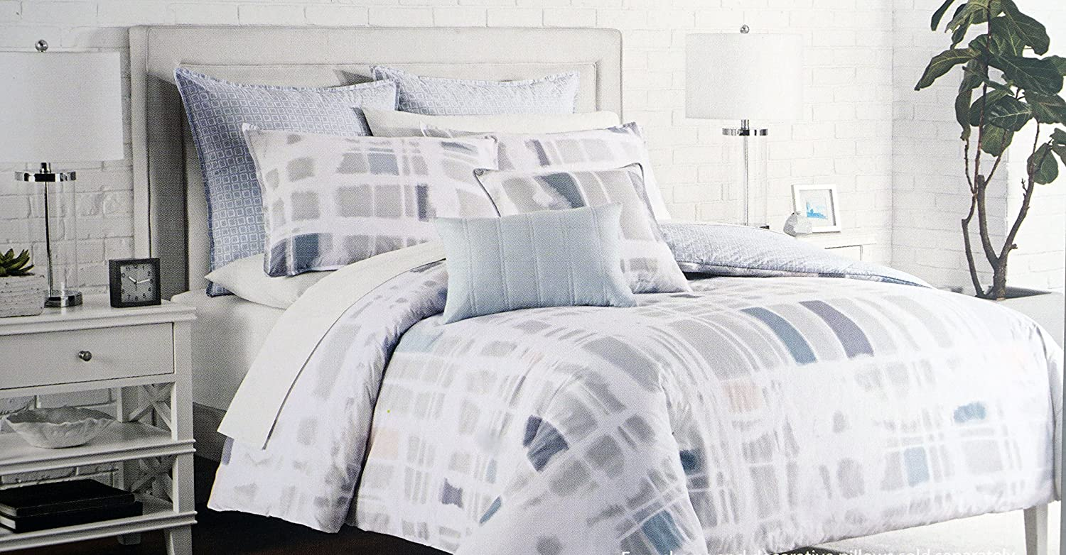 Duvet Cover Set Cotton, 3 Piece Full / Queen Size, Kas Australia, Abstract Diffused Pastel Rectangle Pattern -- Winsley, Multi