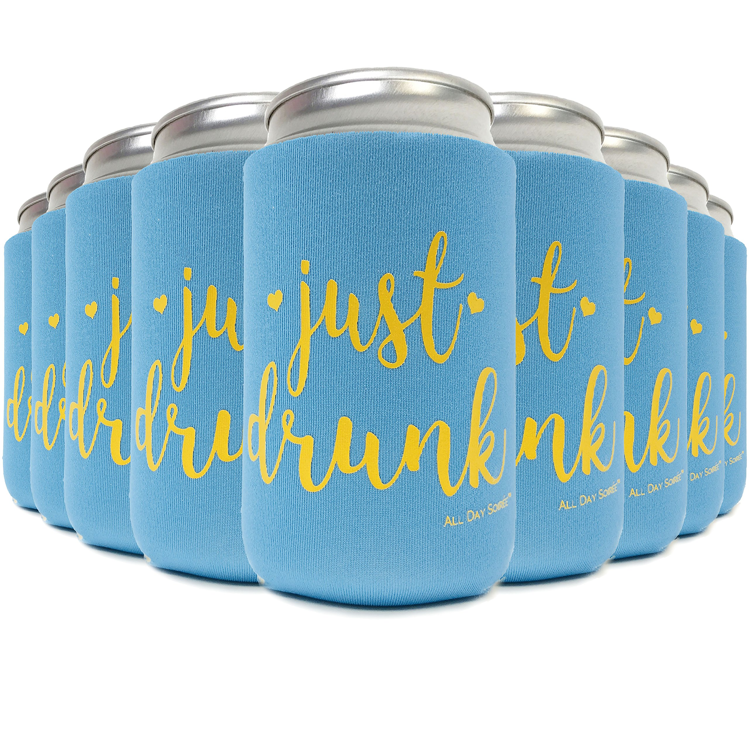 Drunk in Love + JUST Drunk 11 Pack Bachelorette Party Favor Can Coolers Plus Bonus Photo Game | 10 Tiffany Mermaid Blue, 1 White Bride, Gold Ink | Decorations, Supplies, Gifts