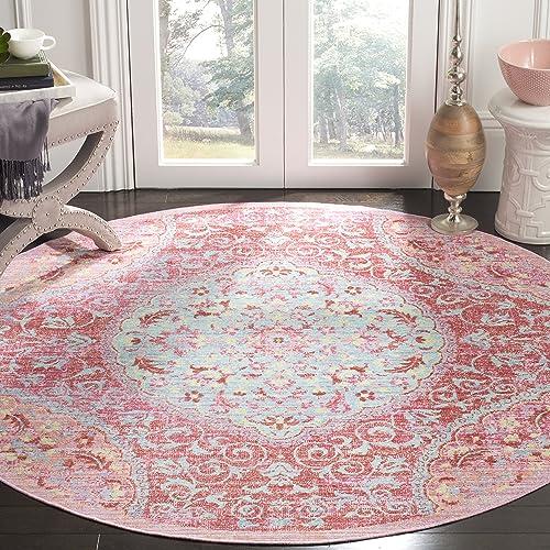 Safavieh Windsor Collection Premium Wool Round Area Rug, 6 Diameter, Rose Seafoam