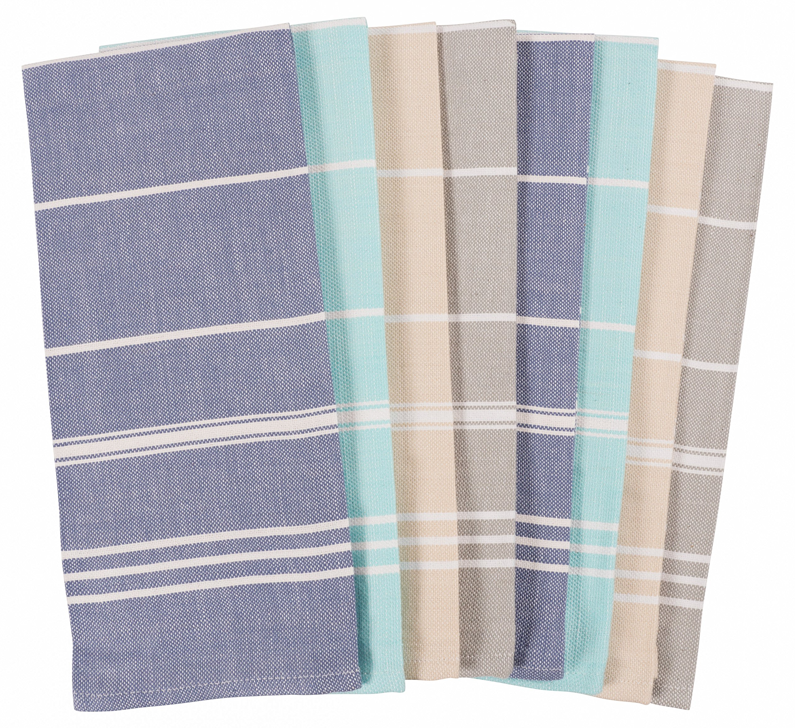 KAF Home Striped Kitchen Towels | Set of 8, 100% Pure Cotton, 16'' x 26'' Kitchen Towels | Absorbent, Soft, Fun, and Beautiful Kitchen Towels | Perfect Splash of Fashion in Any Kitchen (Blues)