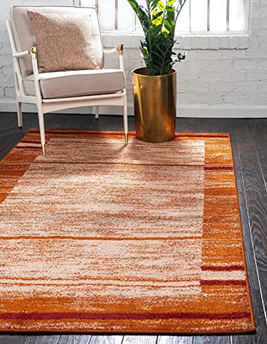 Unique Loom Autumn Collection Rustic Casual Warm Toned Border Terracotta Area Rug 8 0 x 10 0