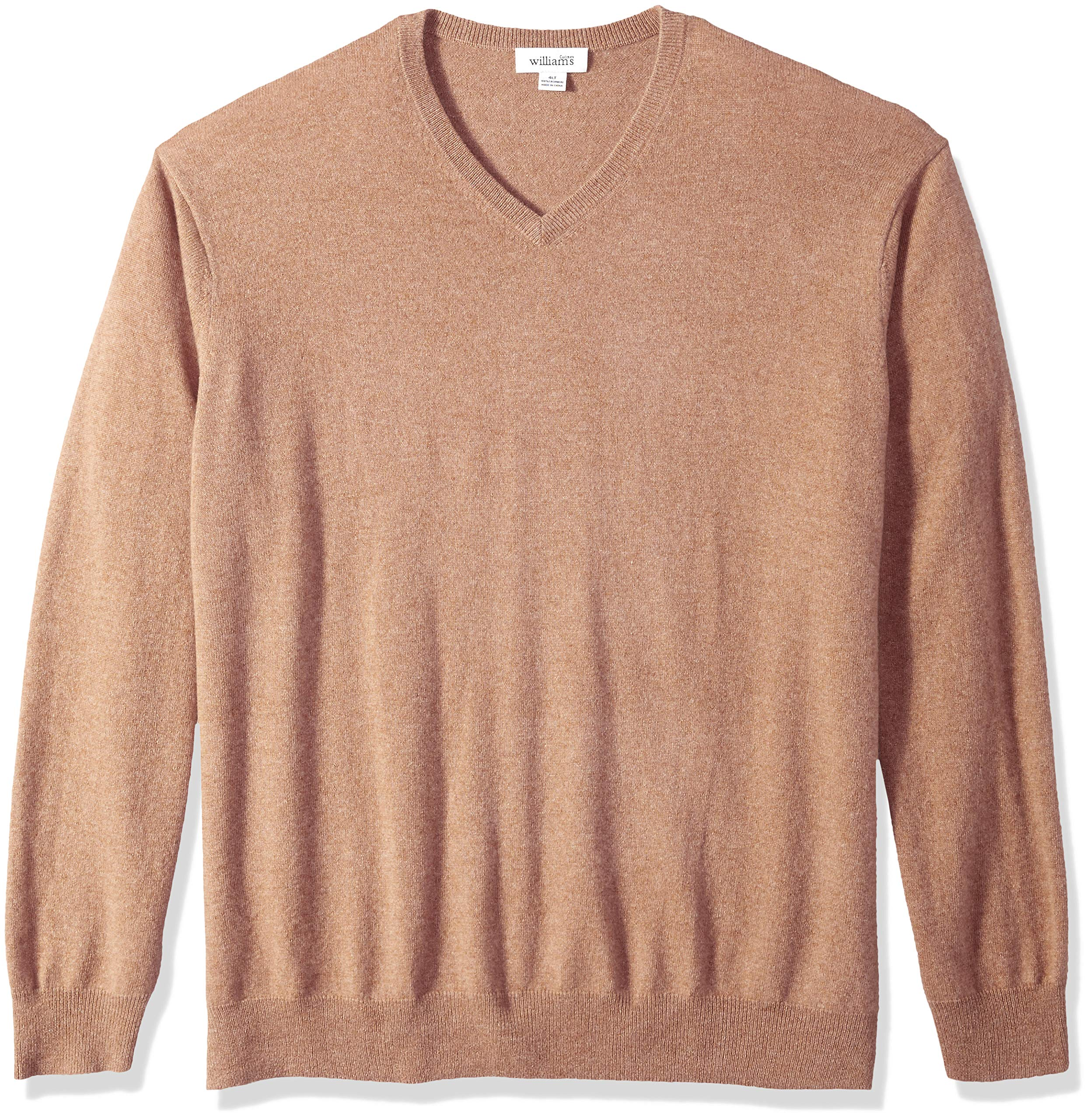 Williams Cashmere Men's Big and Tall 100% Cashmere V Neck Pullover Sweater, Camel 2XB
