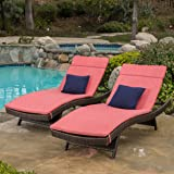 Lakeport Outdoor Brown Wicker Adjustable Chaise Lounge With Red Cushions (Set Of 2)