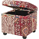 Jennifer Taylor Home Jacob Collection Bohemian Style Square Storage Ottoman With Flip Lid, Bombay