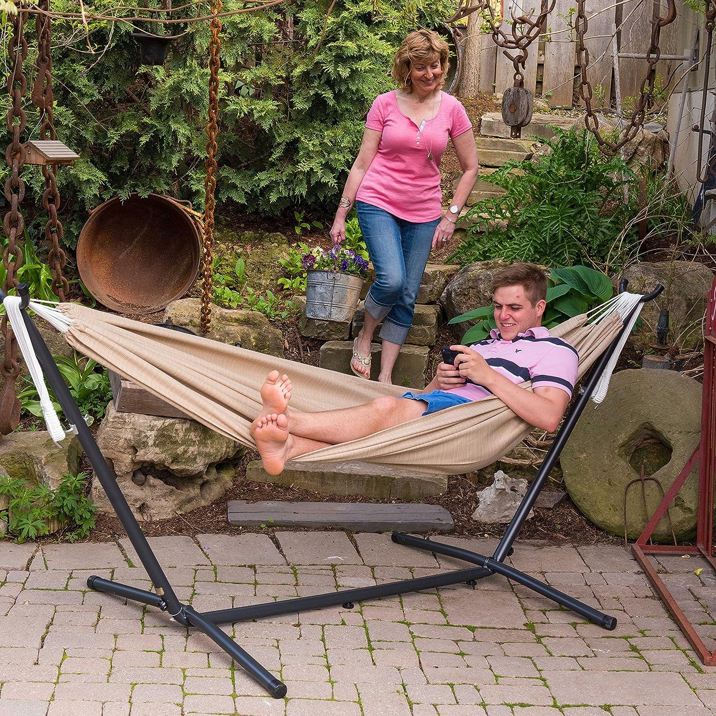 Vivere Double Sunbrella Hammock & 9' Steel Stand - Sand
