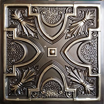 Amazon.com: Pl11 Faux tin Aged brass Ceiling Tiles 3d Embossed ...