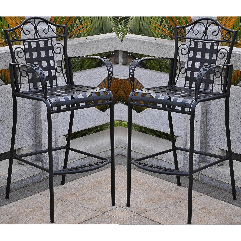 Amazon Set of 2 Mandalay Iron Bar Height Chair Patio