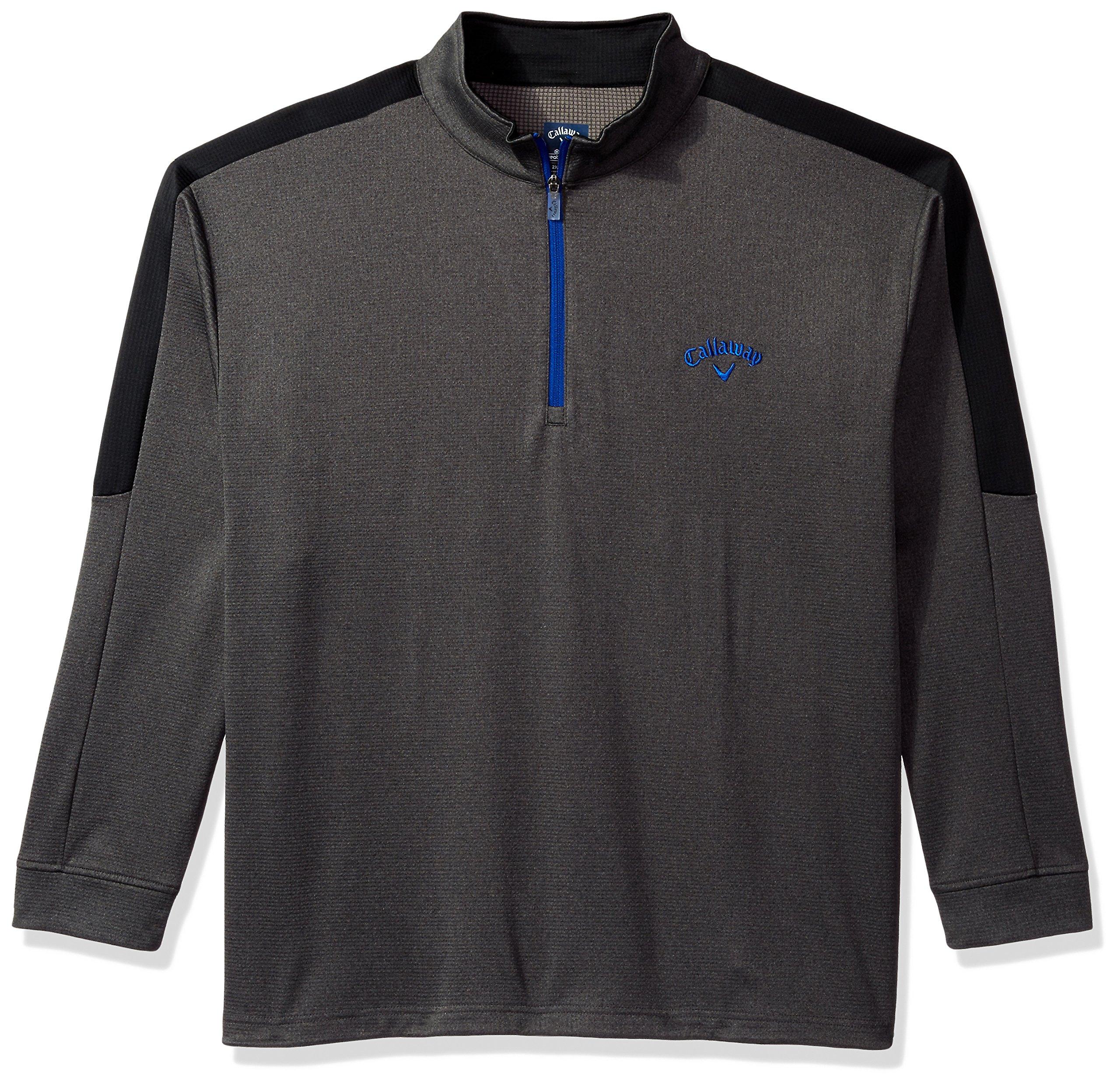 Callaway Men's Big & Tall Opti Therm Long Sleeve Heather Waffle Fleeced 1/4 Zip Midlayer Jacket