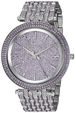 56d8b9eb2cad Amazon.com  Michael Kors Women s Darci Stainless-Steel and Lavender Pave  Watch MK3850  Watches