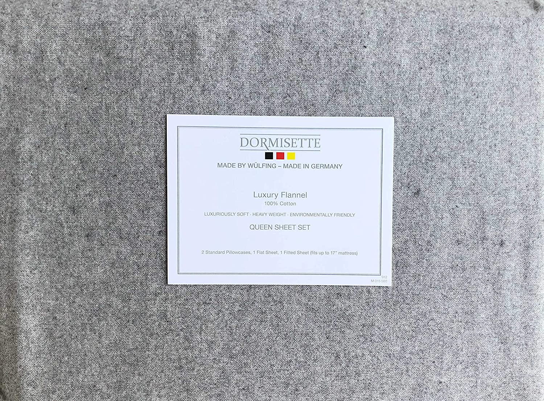 Dormisette Germany 4 Piece Cotton Flannel Sheet Set Solid Light Flannel Gray (Queen)