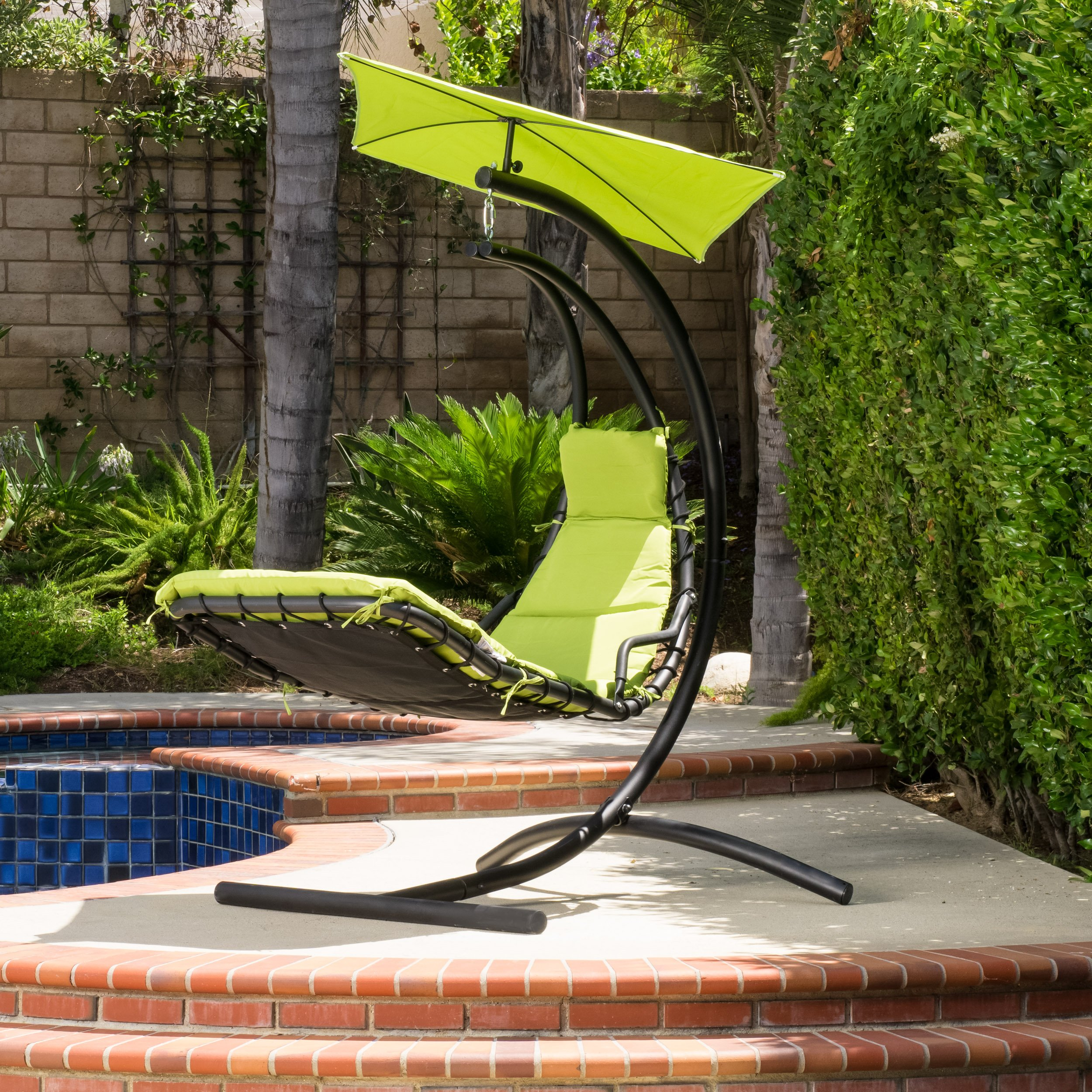 Corolla Outdoor Hanging Chair with Green Cushion