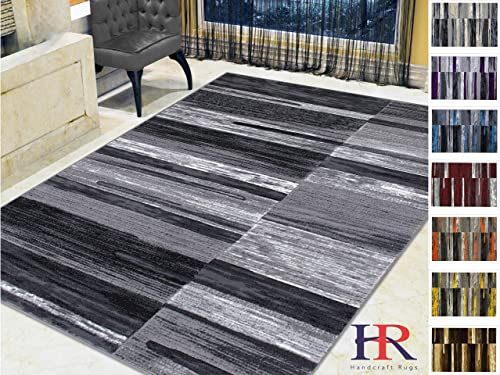 Handcraft Rugs Abstract Area Rug Modern Contemporary Divers Shades and Colors Design Pattern-Gray Black Silver