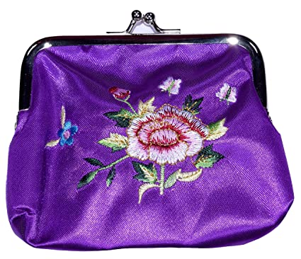Monedero mediano de seda bordado flor morada: Amazon.es ...