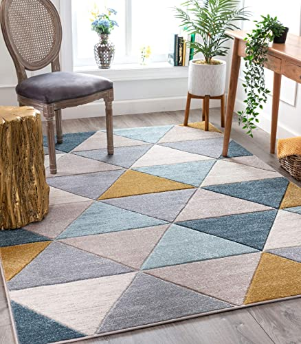 Well Woven Delia Multi Modern Geometric Scandinavian Triangle Pattern Area Rug 5×7 5'3″ x 7'3″