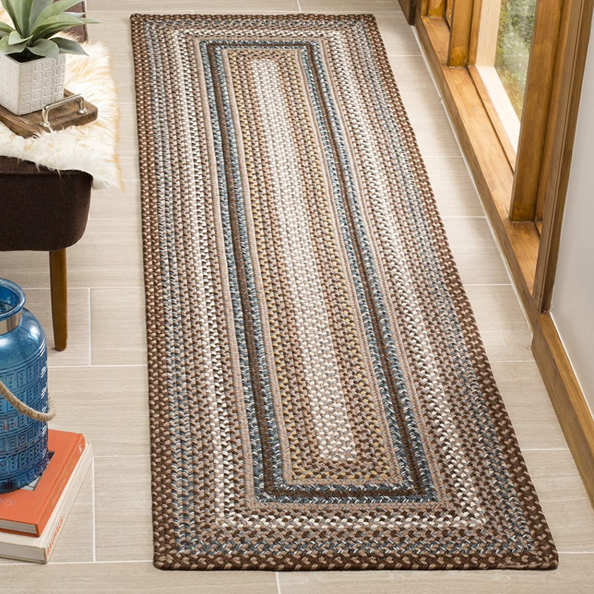 """Safavieh Braided Collection BRD313A Hand Woven Brown and Multi Runner (23"""" x 8)"""