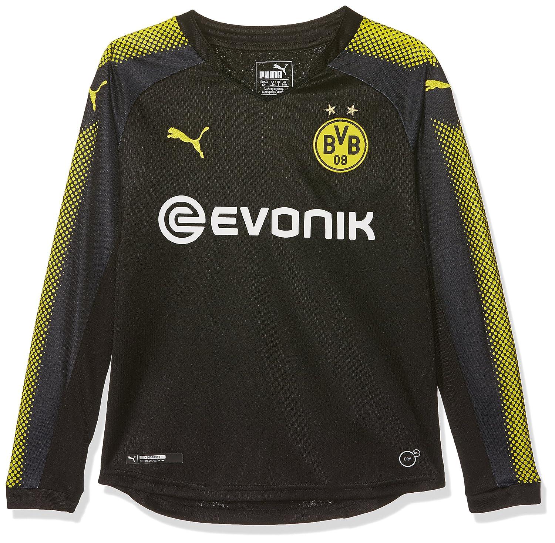 Puma Jungen BVB Kids Ls Away Replica Shirt with Sponsor Logo T