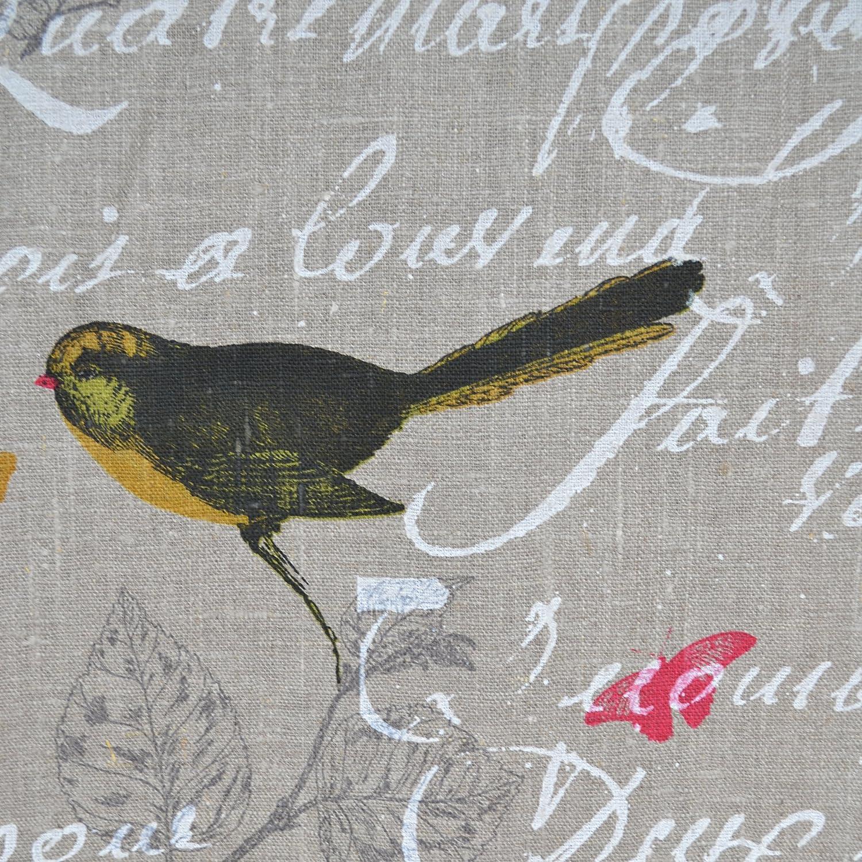 Tissu en lin imprimé - Oiseaux (Naturel)   100% lin   Largeur ...