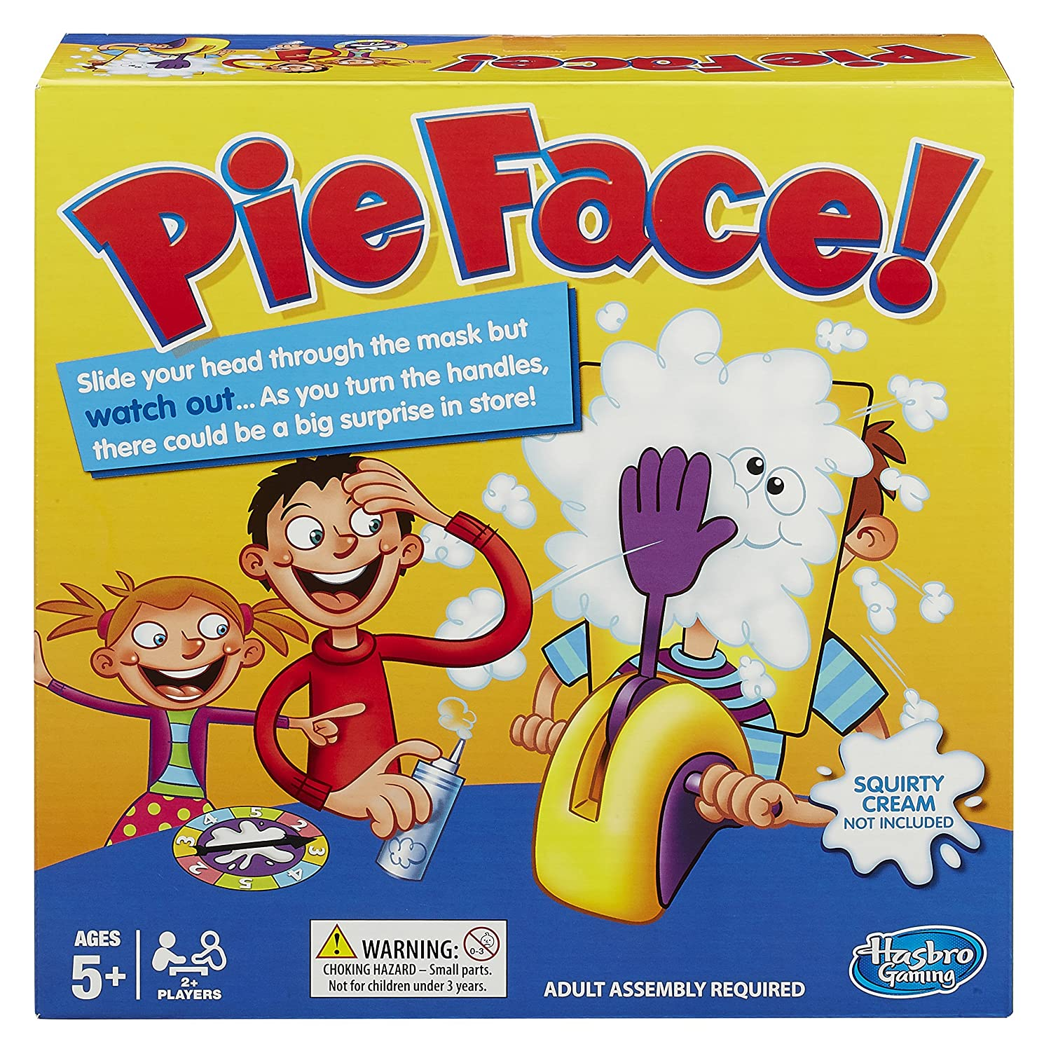 a Pie Face! game set in a box
