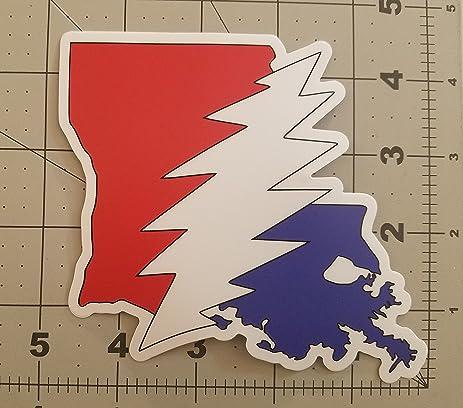 Louisiana grateful dead die cut sticker 5 x 4 5 vinyl bolt deadhead jerry