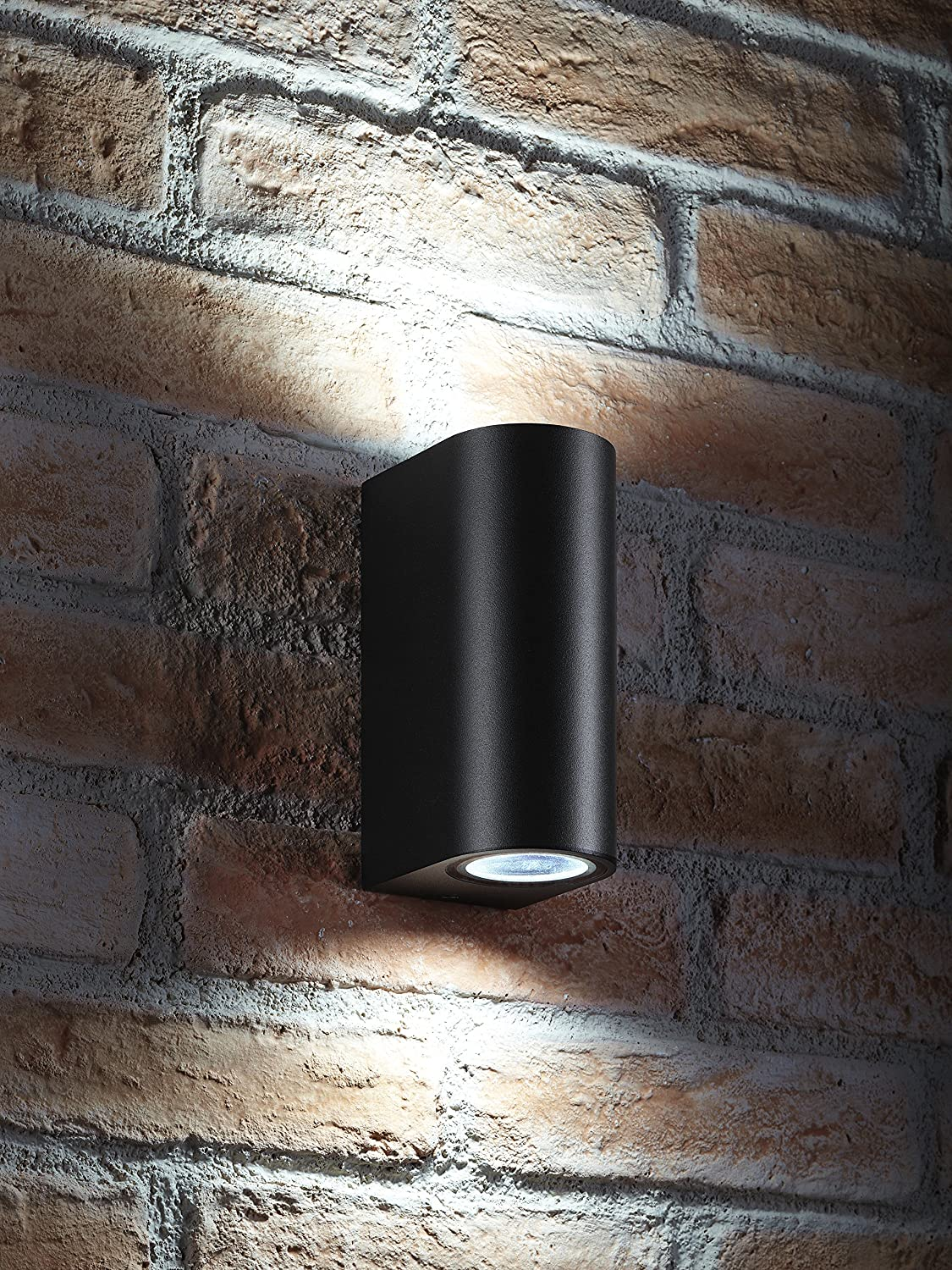Auraglow IP44 Outdoor Double Up & Down Wall Light (Cool White, Black) [Energy Class A+]