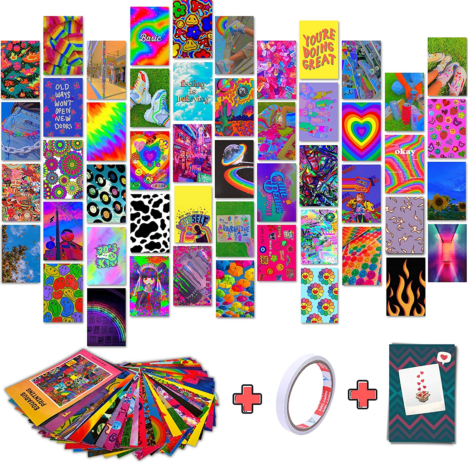 Wall Decor for Bedroom Aesthetic Decor, 50pcs Pictures Aesthetic Wall Collage Kit for Indie Room Decor, Indie Posters for Kidcore Room Decor, 4x6 Photo Wall Collage Kit for Indie Wall Decor