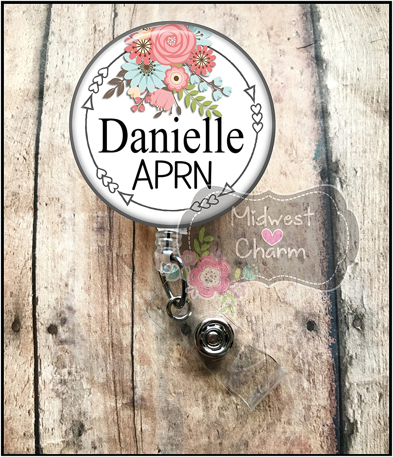 white/floral..Retractable badge holder, nurse gift, ob, L&D, id holder, reel, RN, LPN, CNA Personalized Christmas Gift