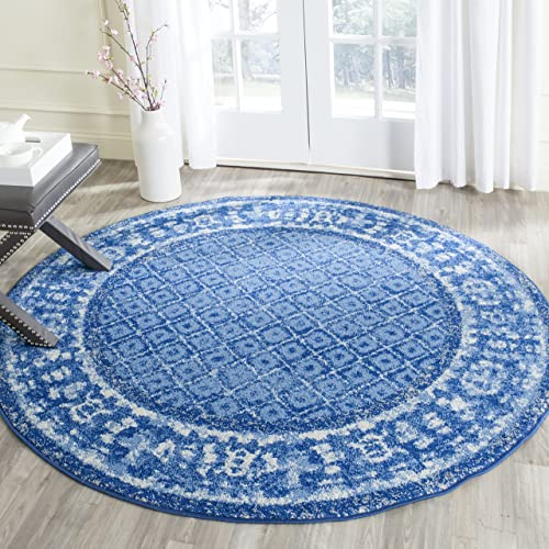 Safavieh Adirondack Collection ADR110F Light Blue and Dark Blue Vintage Distressed Round Area Rug 6' Diameter